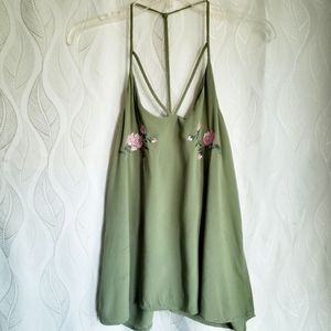 Green Strappy Floral Embroidered Bust Tank Top